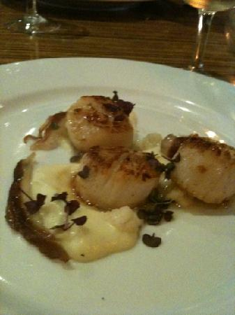 The Corner Restaurant: scallops with duck prosciutto and pickled cauliflower