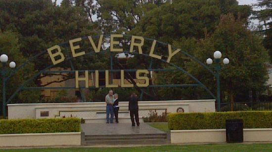 Glitterati Tours: Beautiful Beverly Hills park along Santa Monica Boulevard.