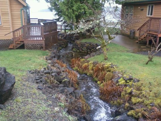 The Waterfront at Potlatch Resort: Lovely brook that winds between the cabins
