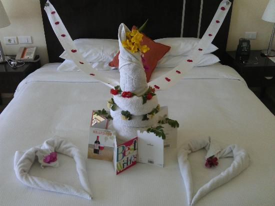Hilton Sharks Bay Resort: Great towel art using flowers, and all my bday cards!