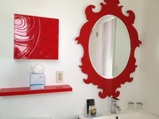 Red South Beach Hotel Bathroom Mirror