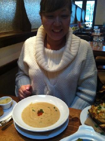 The Porch Restaurant and Bar: Pam with soup