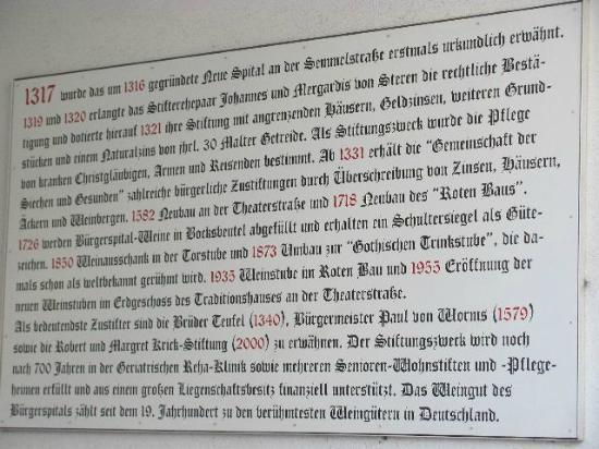 Buergerspital zum Heiligen Geist - Weingut : plaque