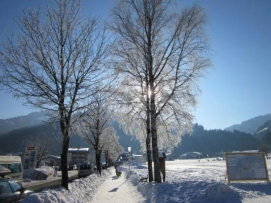 Pension Edinger: Walkway to Gondola