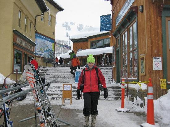 Grand Targhee Ski Resort: Grand Targhee's base village with happy skier.