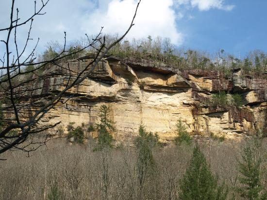 Big South Fork National River & Recreation Area: Rock bluffs on O&W trail near the old train bridge.