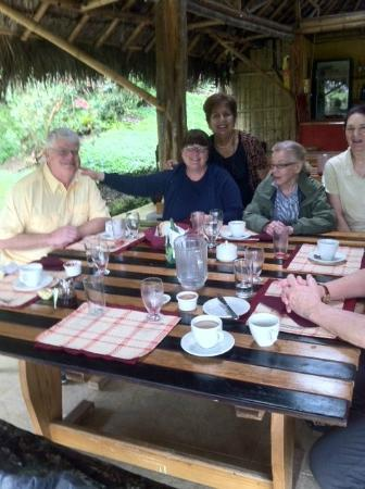 Huasquila Amazon Lodge: Lunch is ready and we are joined by Cecilia at Huasquila Lodge.