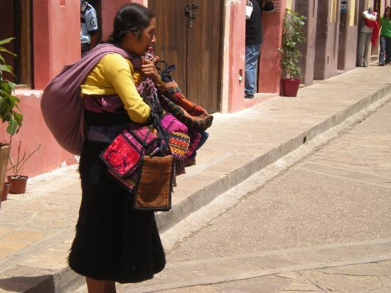 Templo del Carmen: little girl selling crafts on the street