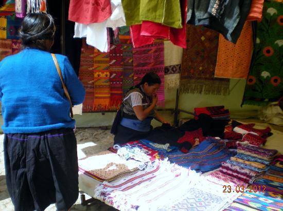 Templo del Carmen: Textile stall in the market