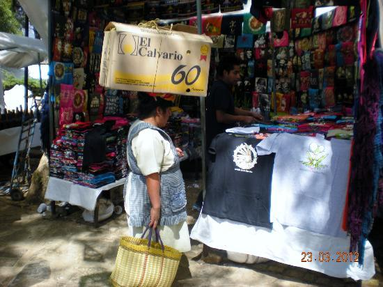 Templo del Carmen: local woman is shopping at the market