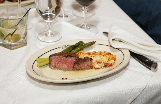 Vic & Anthony's Steakhouse - Las Vegas: Prime strip and jumbo shrimp