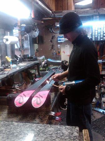 Incline Ski & Board Shop: Cody, hard at work tuning skis!