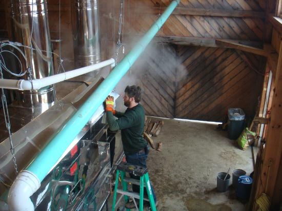 Rupert, VT: Checking the syrup in the evaporator