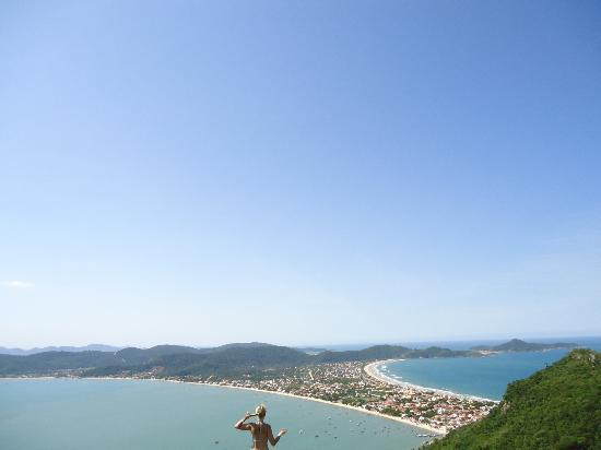Bombinhas: Vista Morro Macacos 360° para Praiade Canto Grande - Mar Fora e Dentro