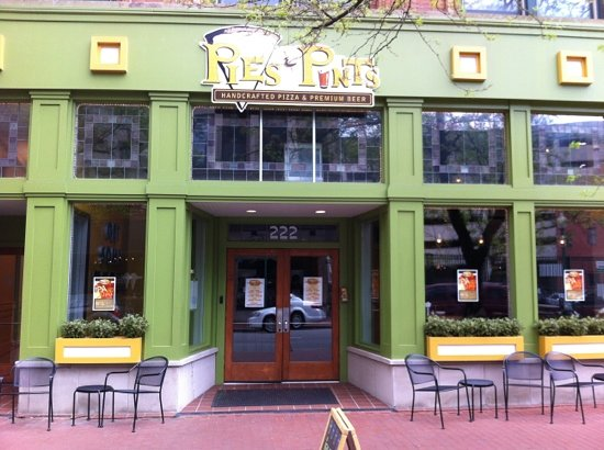 Pies and Pints: front door- super cute location.