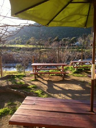 Sierra Subs and Salads: sit outside and enjoy the river