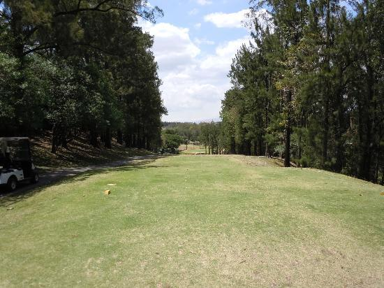 Melia Cariari Golf Course: The T-box of  par 4 18 th hole, crossing a ravine to reach the green