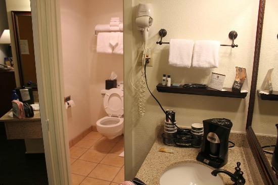 Best Western Sheridan Center: バスルームの手前には洗面所とコヒーメカーがあるのでラーメンも作れる