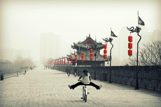 Xi'an, China: Enjoying the bikes on the city wall