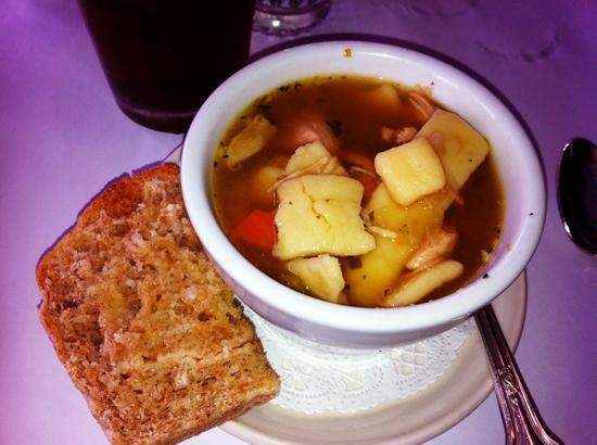 Alta's Rustler Lodge Dining Room: Chicken noodle soup (large home made noodles)
