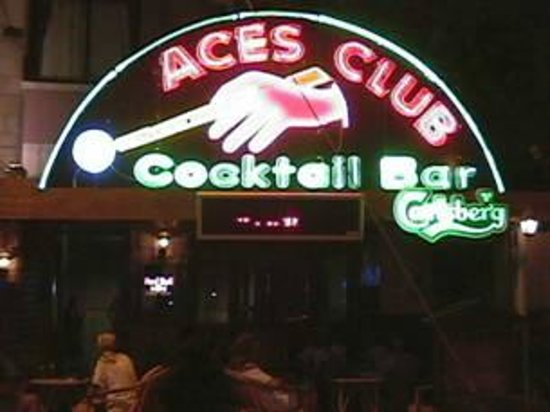 Aces Cocktail Bar: Aces Bar lit up at night
