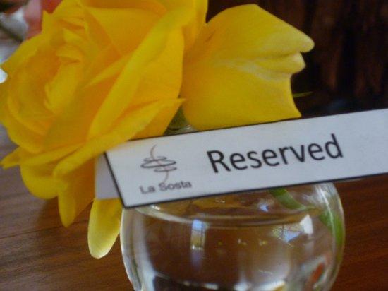 La Sosta Restaurant : reserved