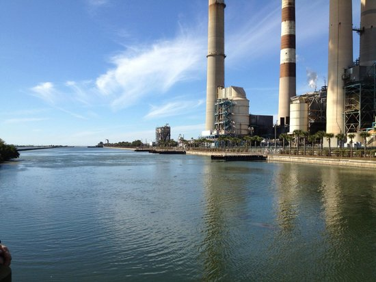 Apollo Beach, FL: The power plant across the inlet