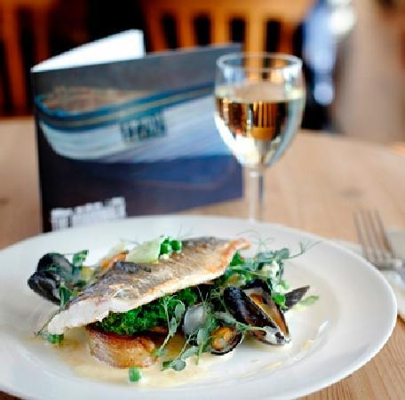 Southwold Pier: Sea bass with a mussel and lettuce fricasee