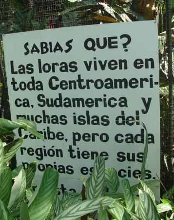 Alajuela, Kosta Rika: signage at Zoo Ave