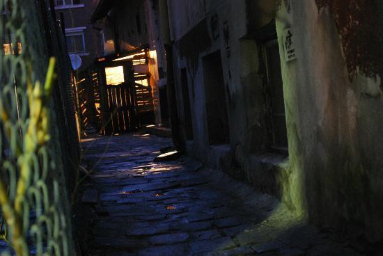 The New Sofia Pub Crawl: the small, dark alley outside of Hambara