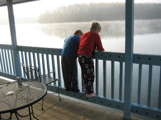 The Inn at Fall Creek Falls State Park: Early morning fishing, even with p.j.'s still on