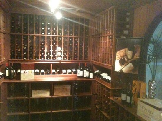 The wine room at Courtside steakhouse.