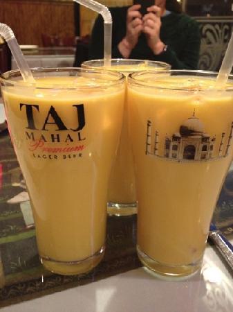 Sitar: mango lassi in a Taj Mahal lager beer glass
