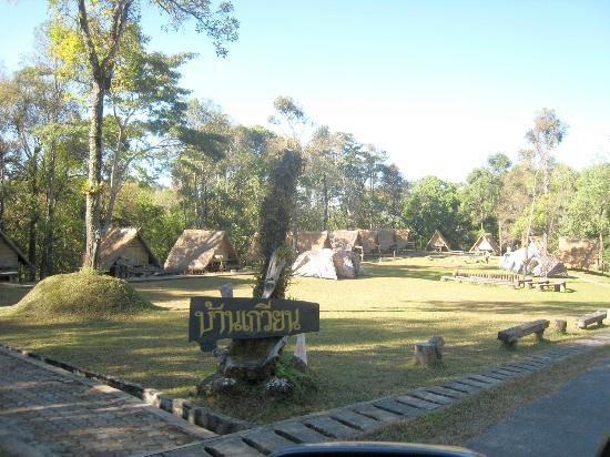Doi Phu Kha National Park: One of the campsites, with some of the wood and thatch small huts