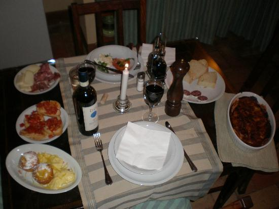 La Foce: The dinner that was waiting for us upon arrival