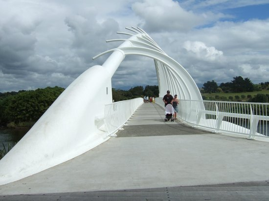 Taranaki Region, Nueva Zelanda: Te Rewa Rewa bridge - on a cloudy day