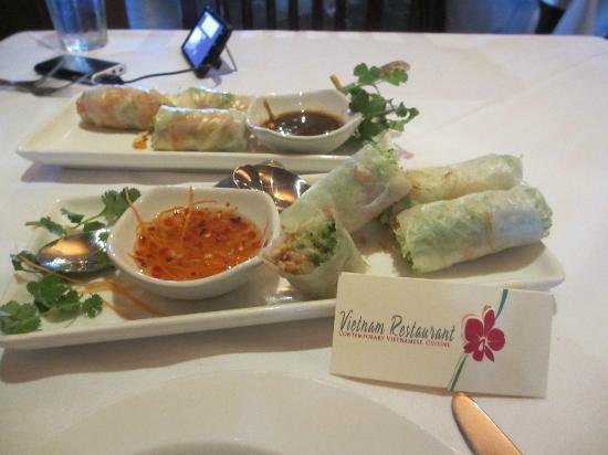 Vietnam Restaurant: summer rolls / shrimp and veggie GET THE VEGGIE ONES!!