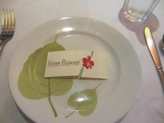 Vietnam Restaurant: Plate and business card