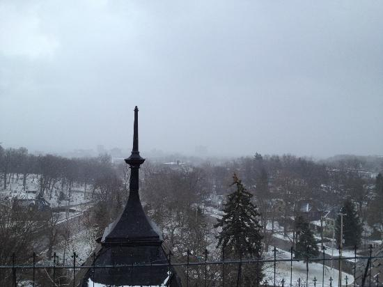 Henderson Castle Inn: This is a view from the rooftop hot tub...we really enjoyed feeling the cold snowflakes falling!