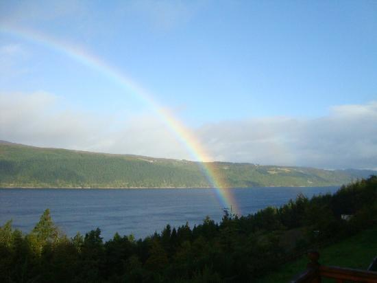 Lodges on Loch Ness: rainbow