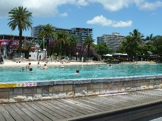Mantra South Bank, Brisbane: The lagoon with the Novotel in the centre background