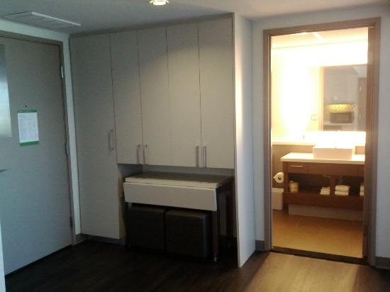 Element Dallas Fort Worth Airport North: Room 229: Kitchen storage with rolling dining table collapsed