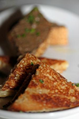 Meritage: Chicken liver crostini and prosciutto and gruyere panino