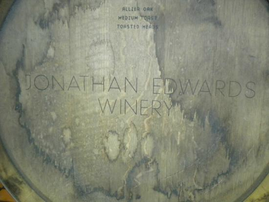 Jonathan Edwards Winery: In the barrel room