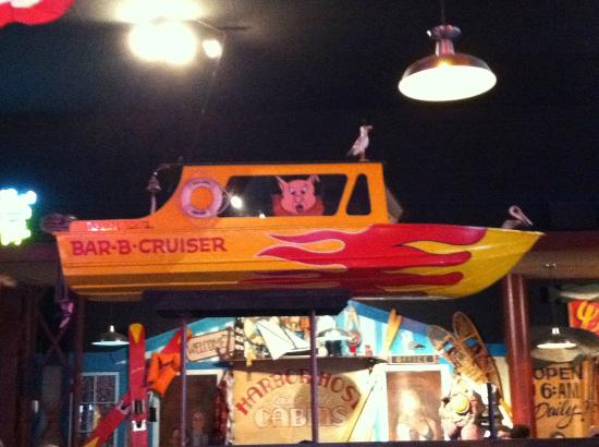 Famous Dave's Barbeque: Bar-B-Cruise boat sails above the heads of diners