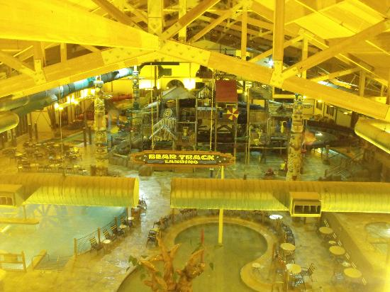 Great Wolf Lodge: water park at night - not sure why the photo is yellow