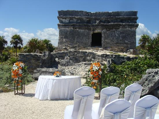 Occidental At Xcaret Destination Wedding Setup The Ruins By Ocean