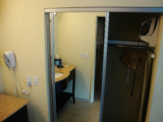 Hampton Inn & Suites Orlando-Apopka: Closet and includes ironing board and iron.  Hair dryer also provided