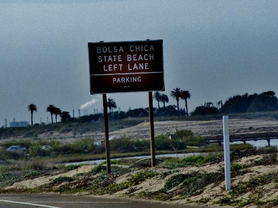 Bolsa Chica State Beach Sign On Pacific Coast Hwy For Campground