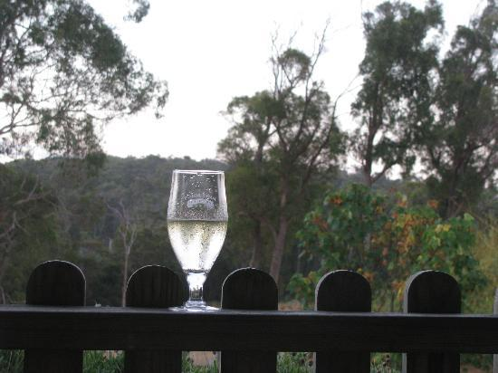 Platypus Park Country Retreat: Enjoying a glass of wine whilst drinking in the ambient sunset.